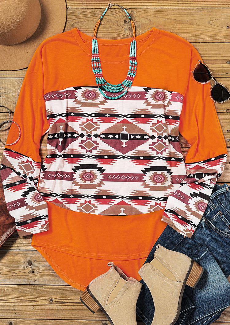 AztecGeometric Western LongSleeve Blouse - Orange