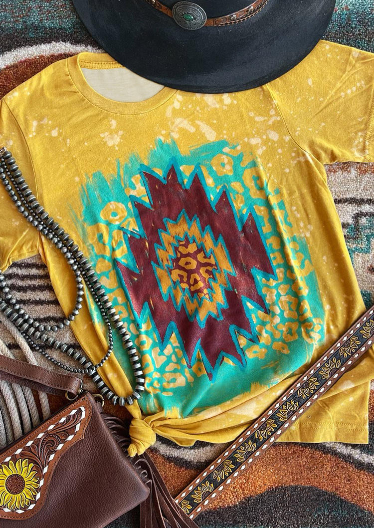 Aztec Geometric Bleached T-Shirt Tee - Yellow