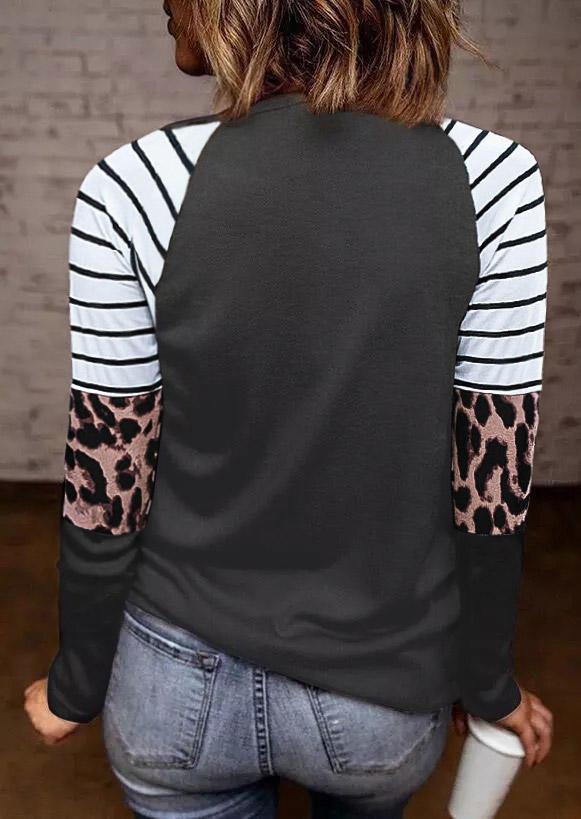 Striped Leopard Splicing LongSleeve Blouse - Dark Grey