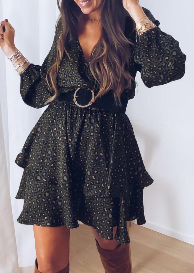 Leopard Ruffled Layered V-Neck Mini Dress