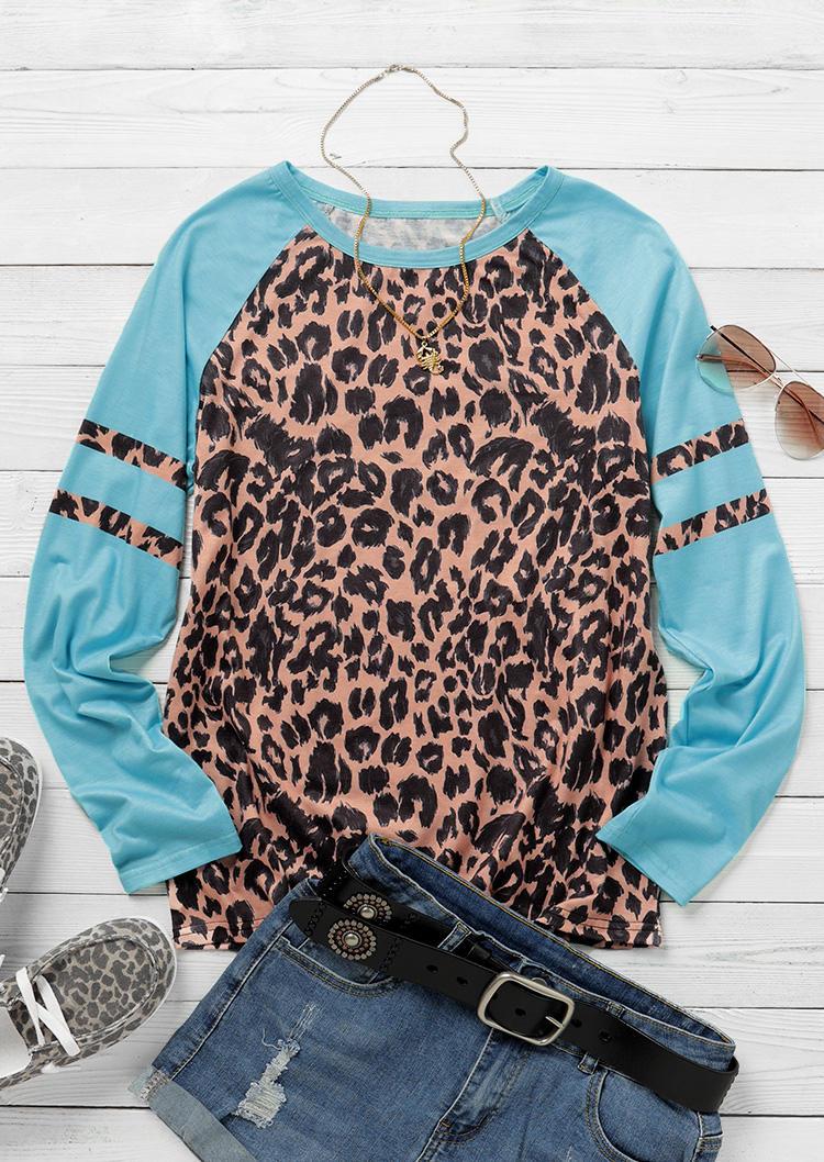 Leopard Colorful Splicing LongSleeve Blouse