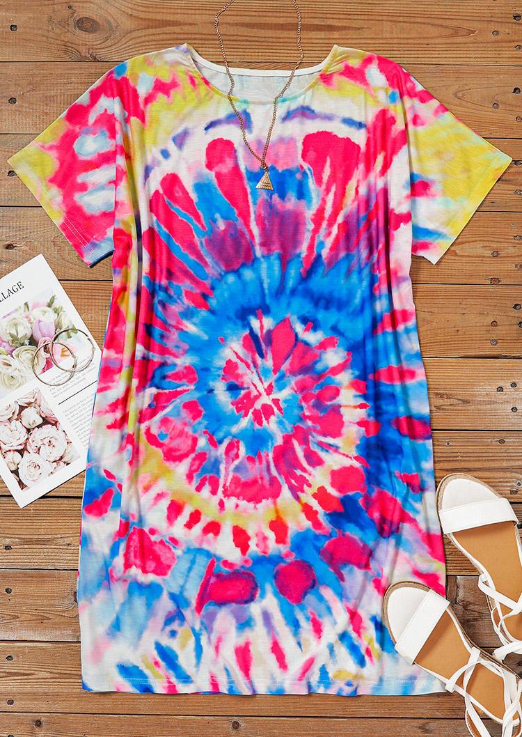 Tie Dye Swirl Short Sleeve O-Neck Mini Dress