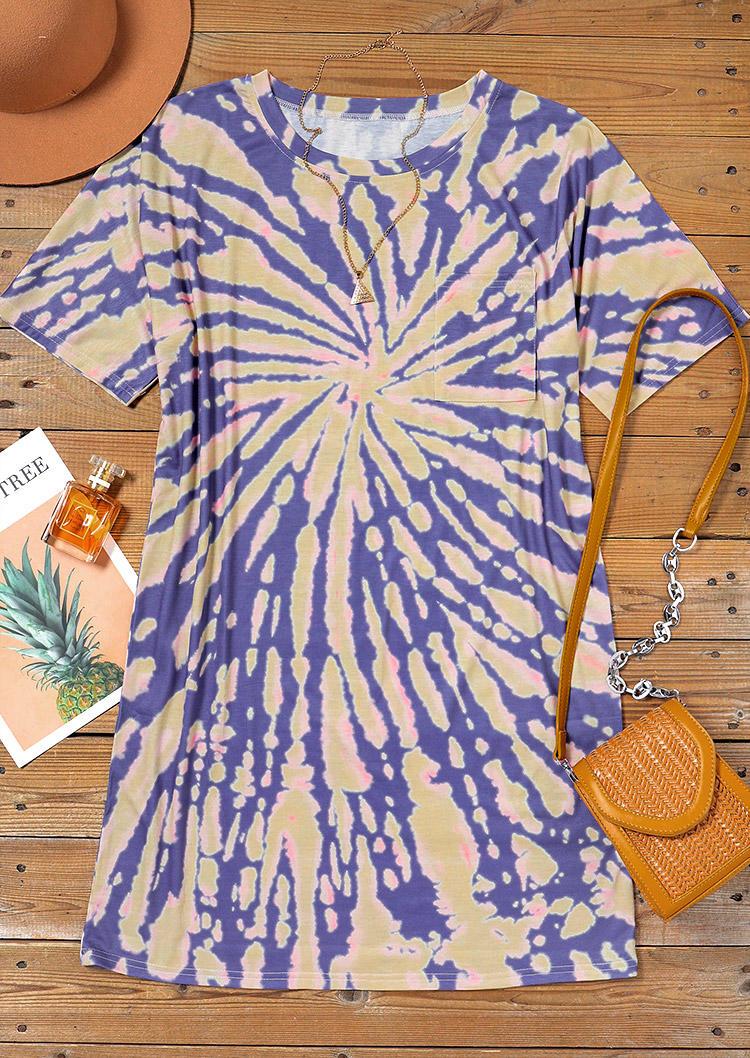 Tie Dye Short Sleeve O-Neck Mini Dress
