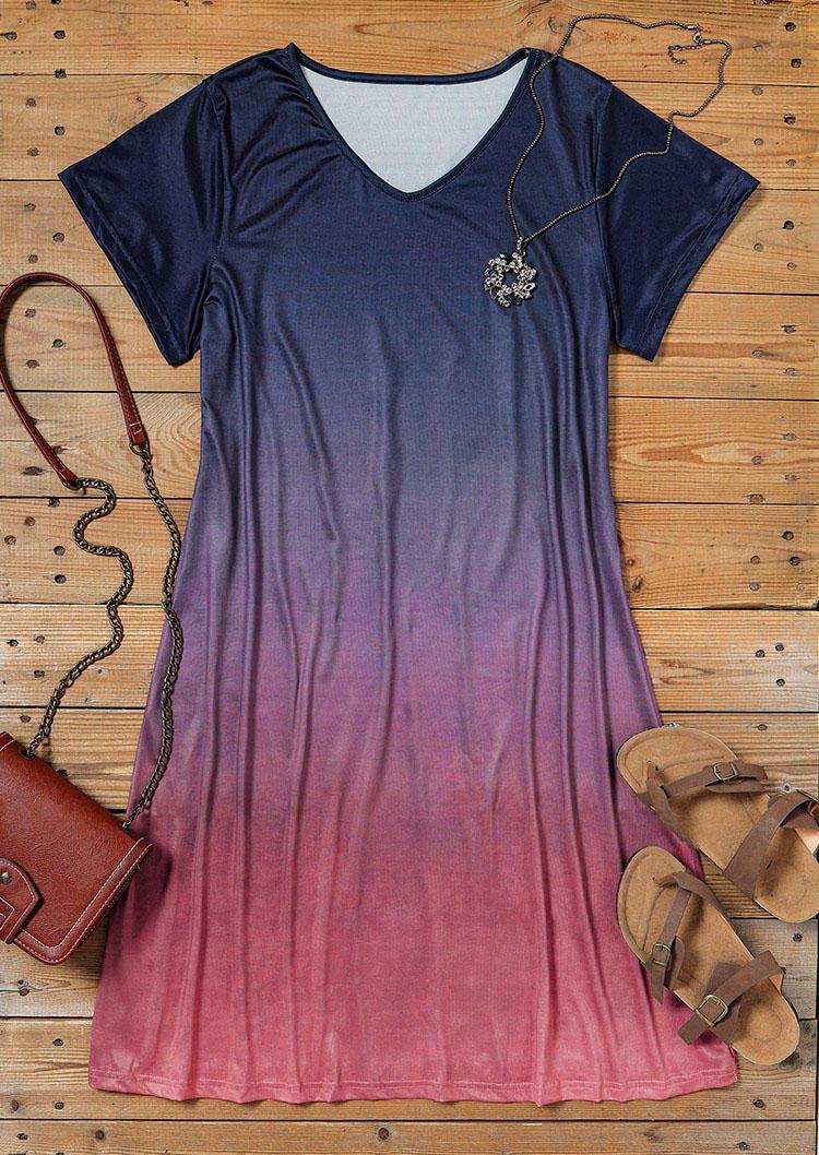 Gradient V-Neck Short Sleeve Mini Dress