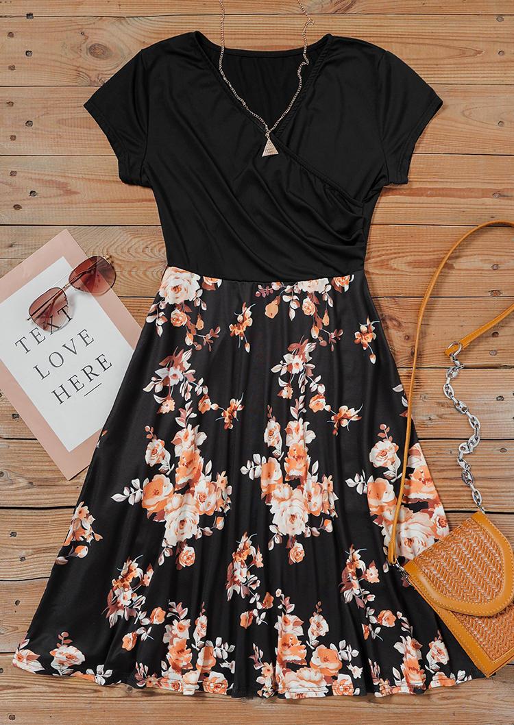 Floral V-Neck Wrap Mini Dress - Black