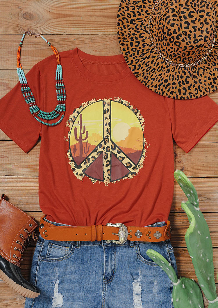 Desert Cactus Sunset Peace Leopard T-ShirtTee - Red