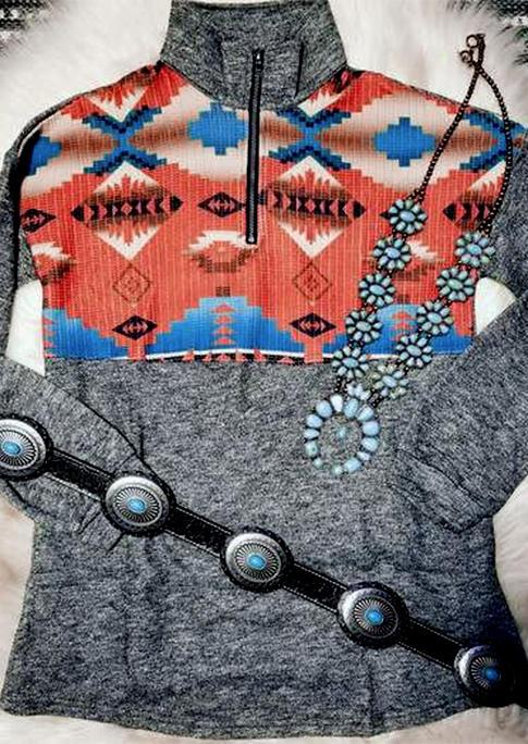 AztecGeometric Zipper Splicing Turn-down Collar Sweatshirt