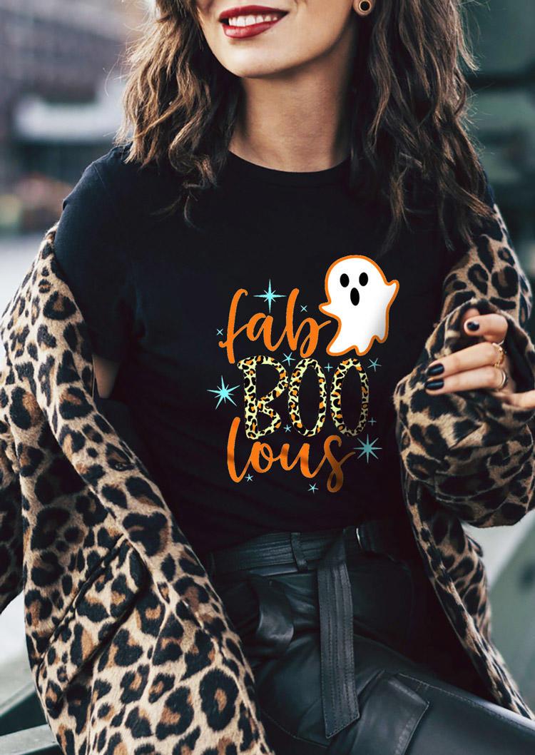 Halloween Fab Boo Lous Leopard Ghost T-Shirt Tee - Black