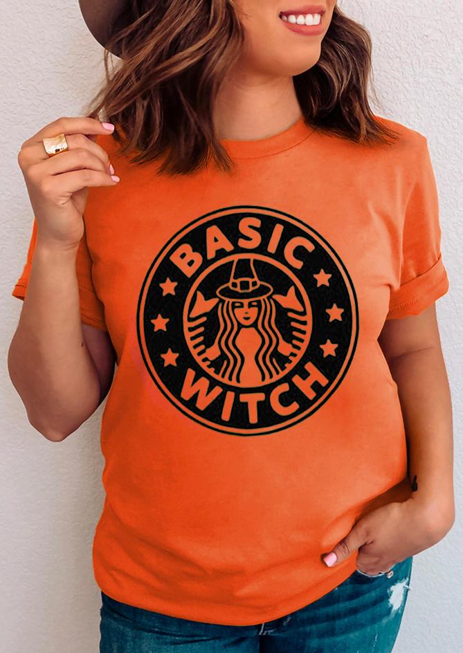Halloween Basic Witch Star O-Neck T-Shirt Tee - Orange