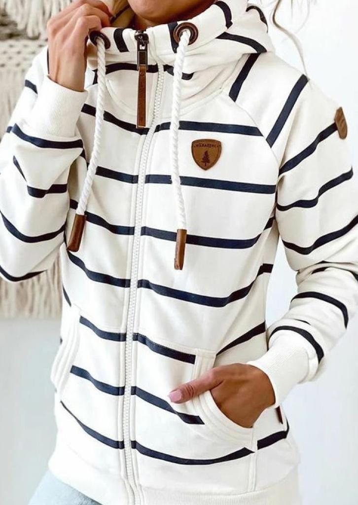 Striped Pocket Long Sleeve Hoodie - White