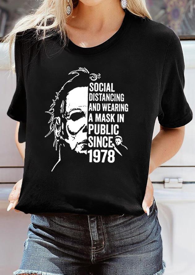 Halloween Social Distancing T-Shirt Tee - Black