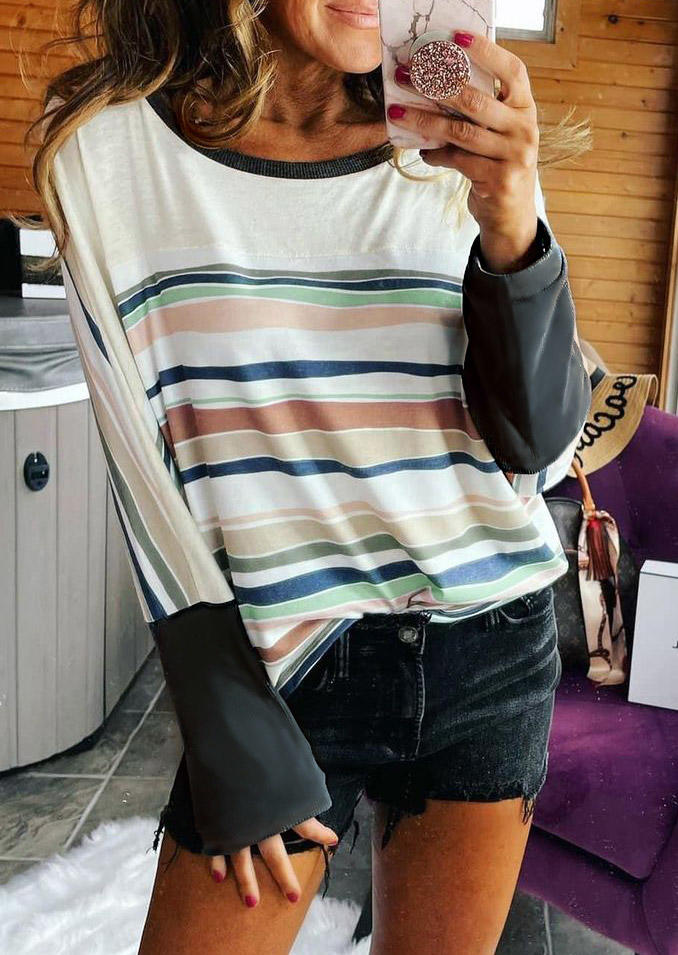 Striped Splicing Long Sleeve Blouse