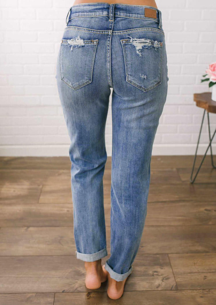 Ripped Hole Pocket Button Denim Pants - Blue