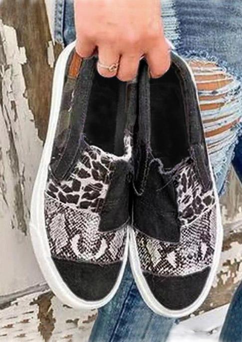 Leopard Snake Skin Splicing Flat Canvas Sneakers - Black
