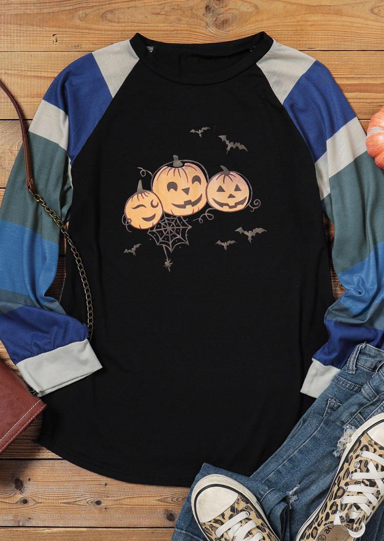 Halloween Pumpkin Striped Color Block Long Sleeve Blouse - Black