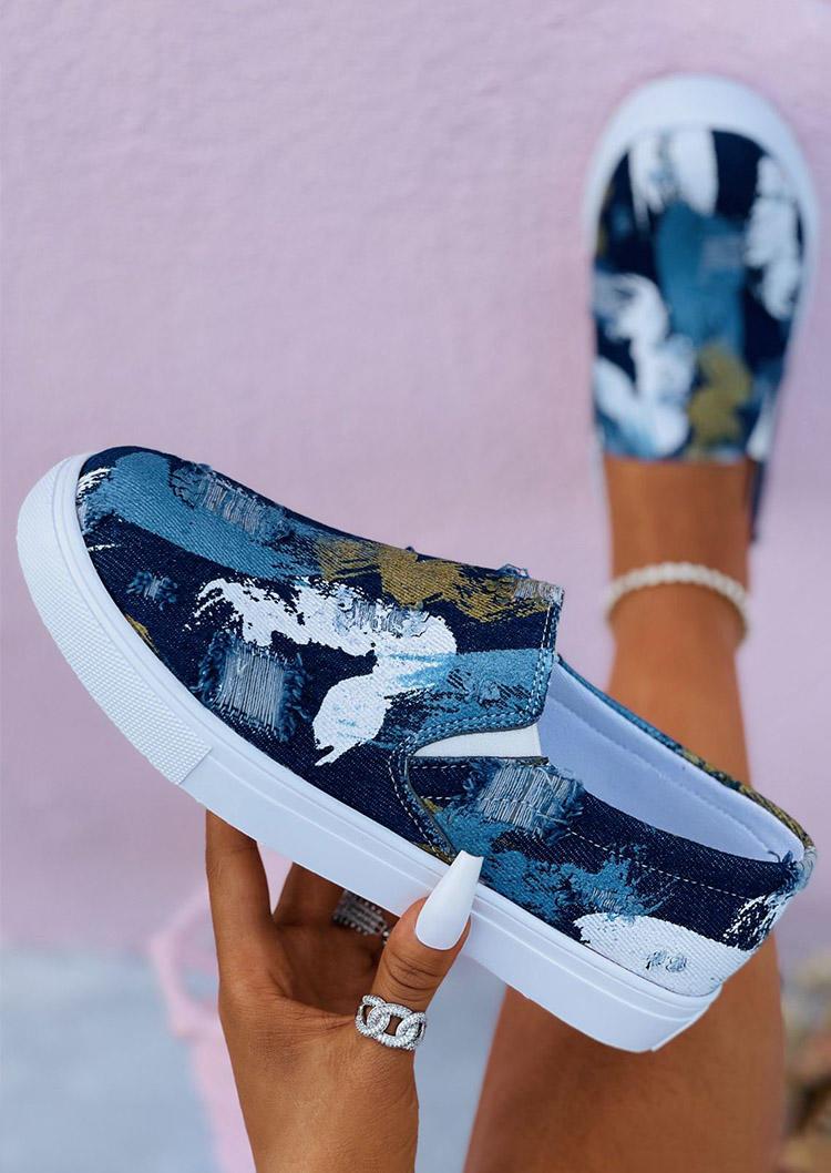 Graffiti Slip-On Casual Sneakers - Deep Blue