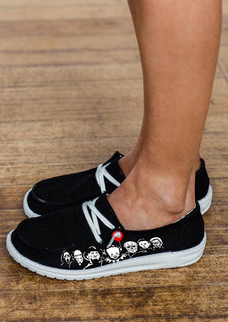 Halloween Skull Lace Up Sneakers - Black