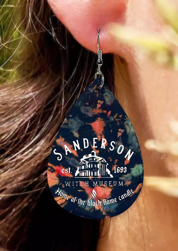 Halloween Home Of The Black Flame Candle Tie Dye Earrings