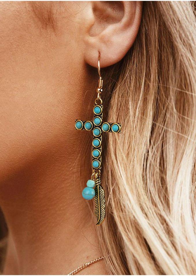 Turquoise Cross Feather Earrings