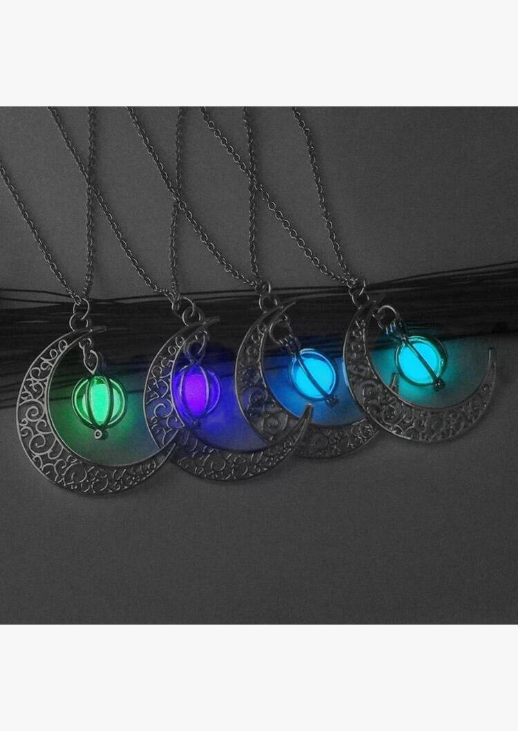 Halloween Crescent Moon Glow Bead Necklace