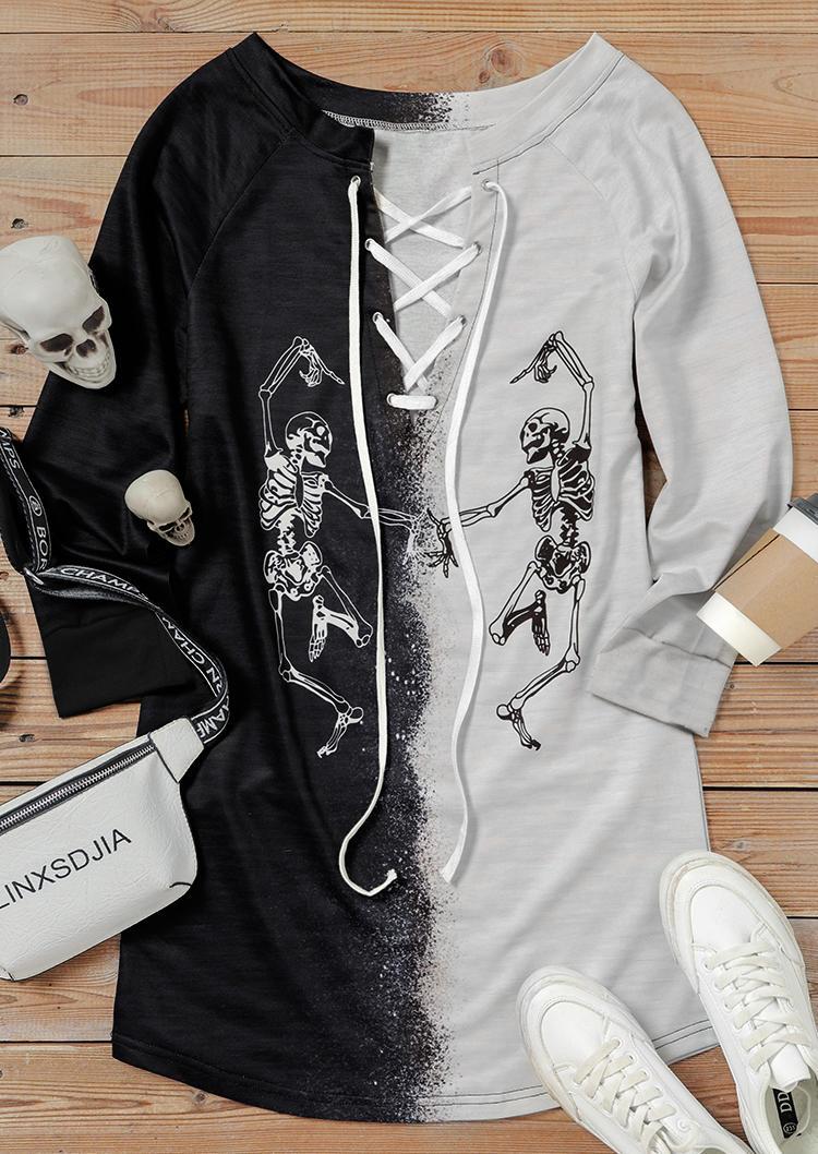 Halloween Skeleton Color Block Lace Up Mini Dress