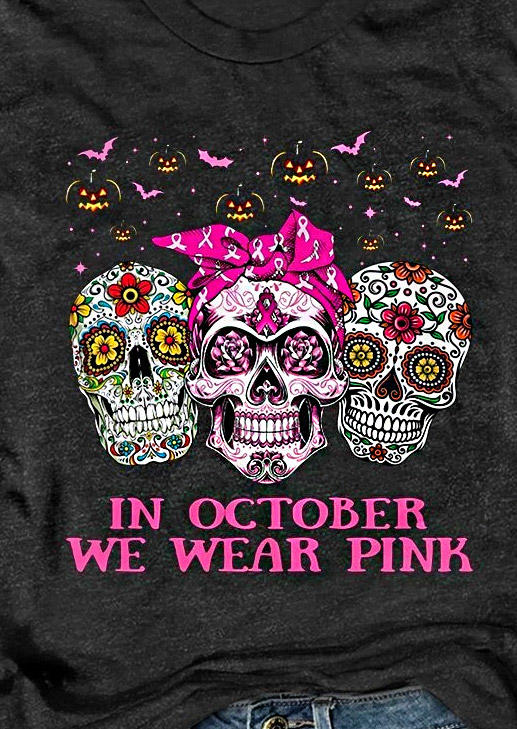 Halloween Pumpkin Face Skull In Octorber We Wear Pink T-Shirt Tee - Dark Grey