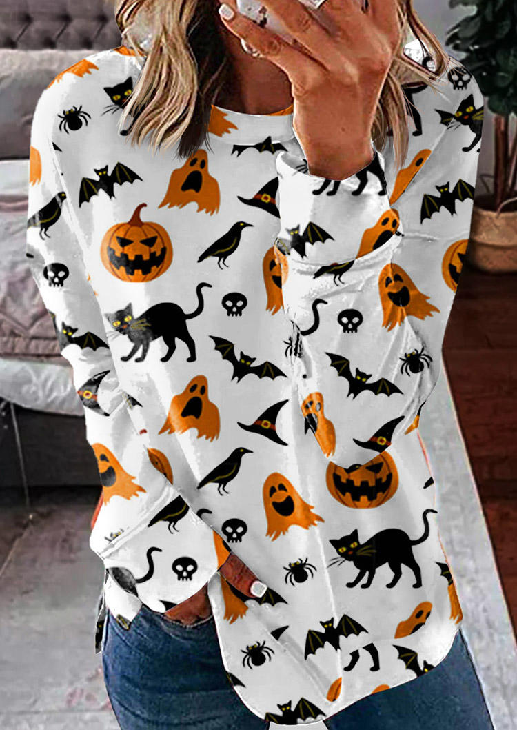 Halloween Pumpkin Bat Skull Long Sleeve Sweatshirt - White