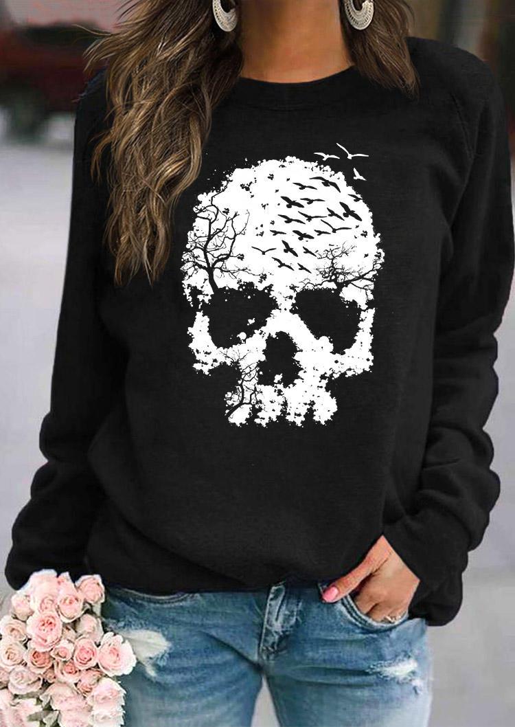 Halloween Skull Long Sleeve Pullover Sweatshirt - Black