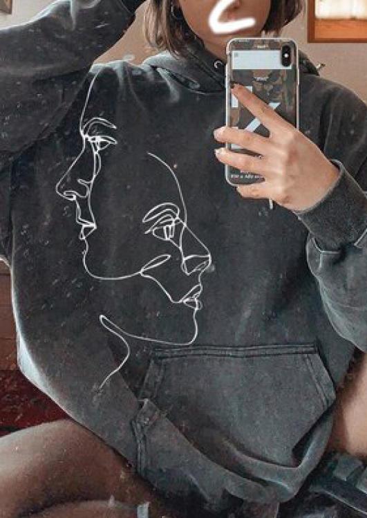 Vintage Abstract Face Long Sleeve Sweatshirt - Dark Grey