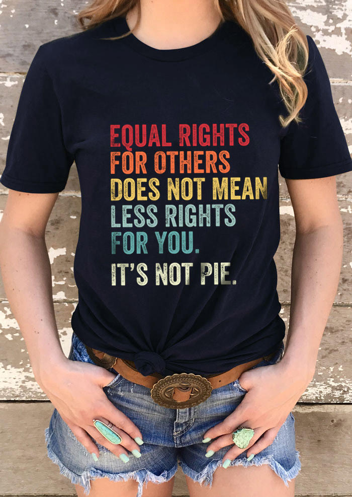 Equal Rights Letter Graphic T-Shirt Tee - Black