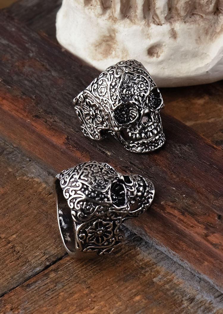 Halloween Skull Floral Ring