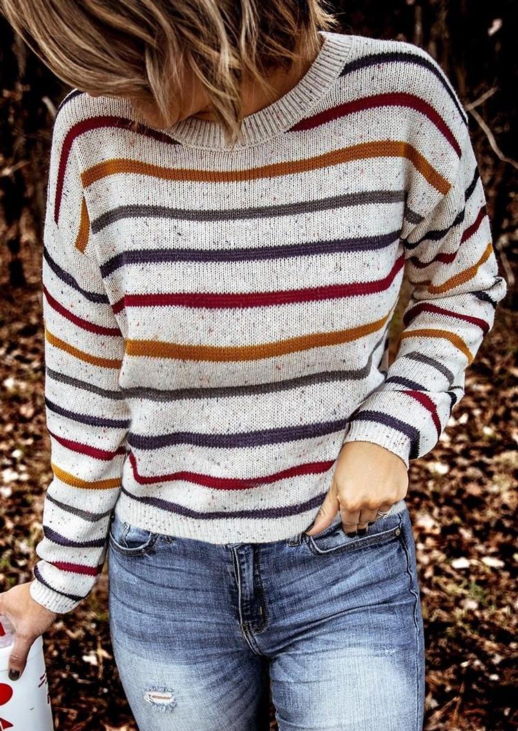 Coloful Striped O-Neck Long Sleeve Sweater