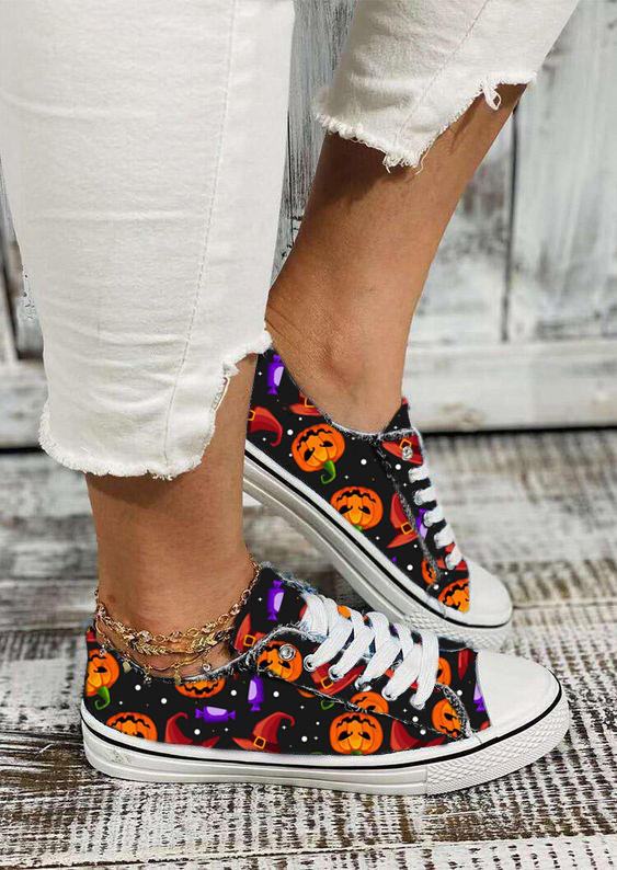 Halloween Pumpkin Face Lace Up Sneakers