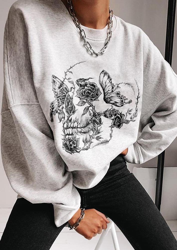Halloween Skeleton Butterfly Floral Sweatshirt - Light Grey