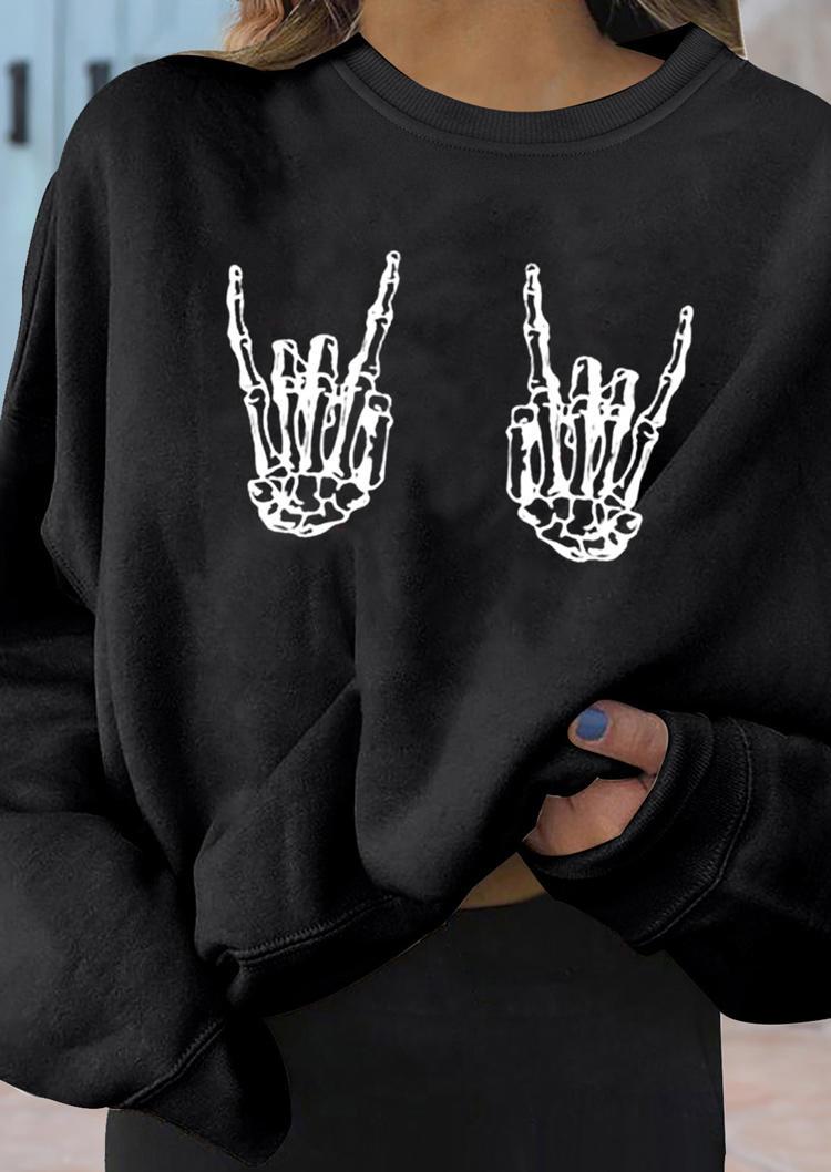 Halloween Skeleton Hand Long Sleeve Sweatshirt - Black