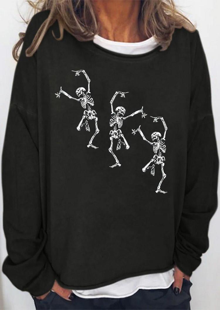 Halloween Dancing Skeleton Drop Shoulder Sweatshirt - Black