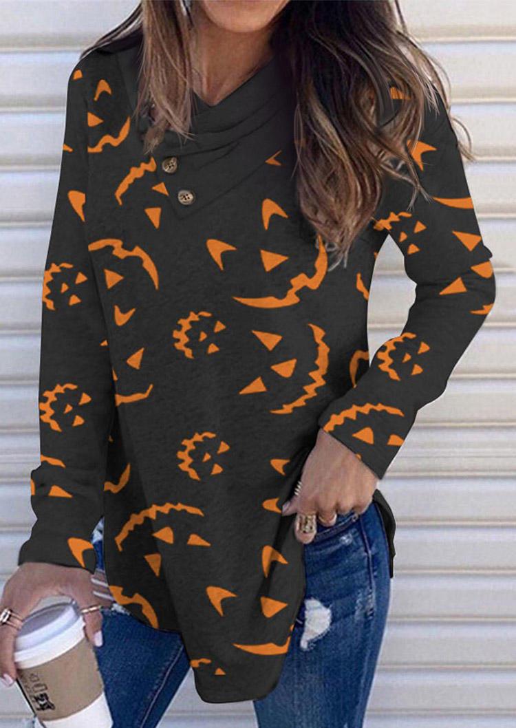 Halloween Pumpkin Face Button Long Sleeve Blouse - Black