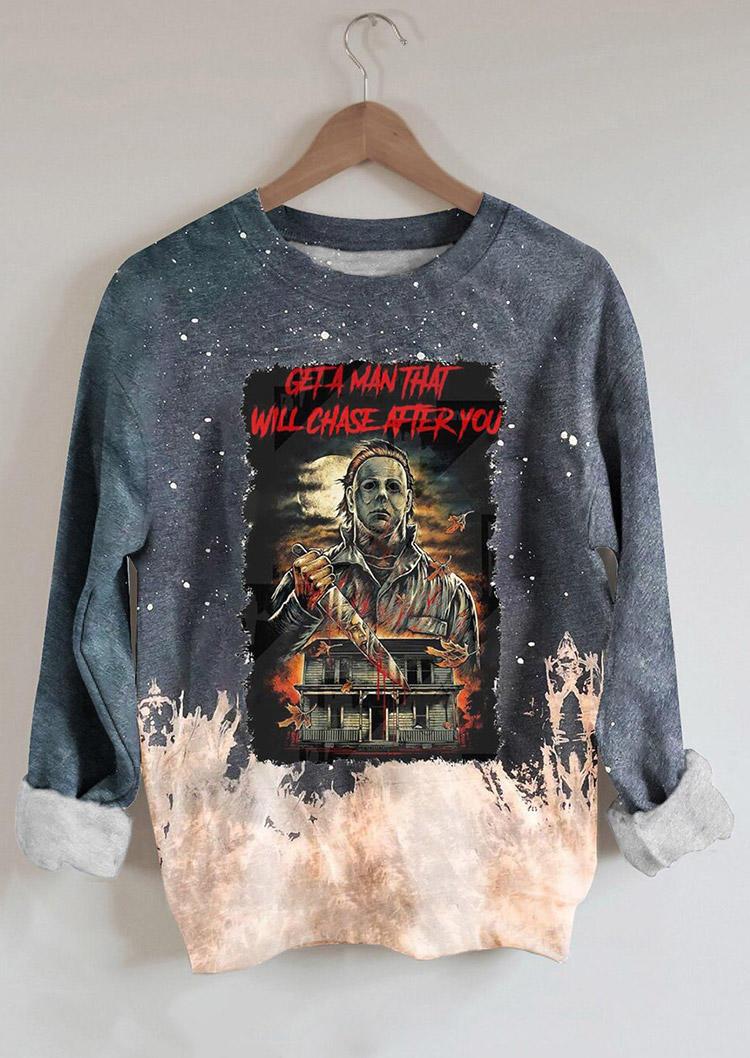 Halloween Tie Dye Horror Movie Character Pullover Sweatshirt - Gray
