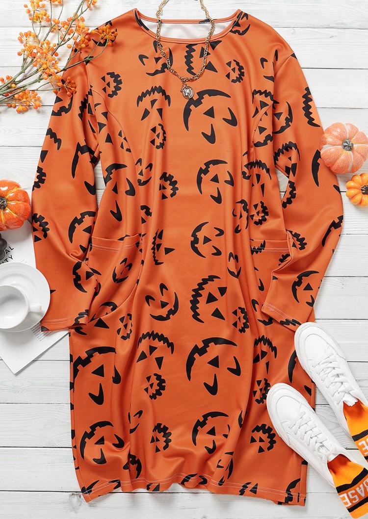 Halloween Pumpkin Face Pocket Mini Dress - Orange