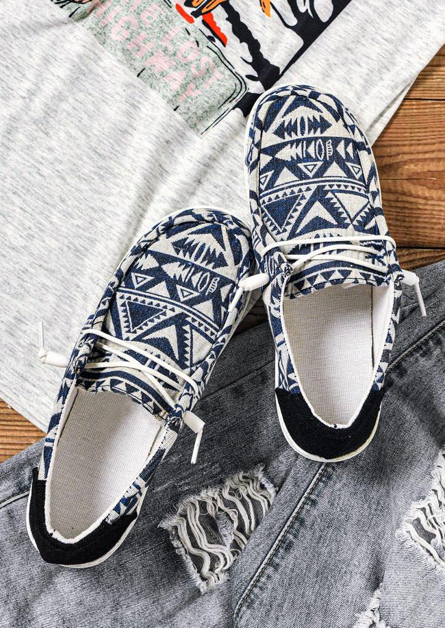 Vintage Aztec Geometric Sneakers - Blue