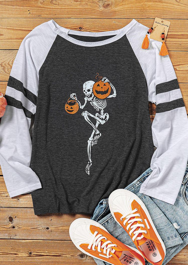 Halloween Skeleton Pumpkin Face T-Shirt Tee - Dark Grey