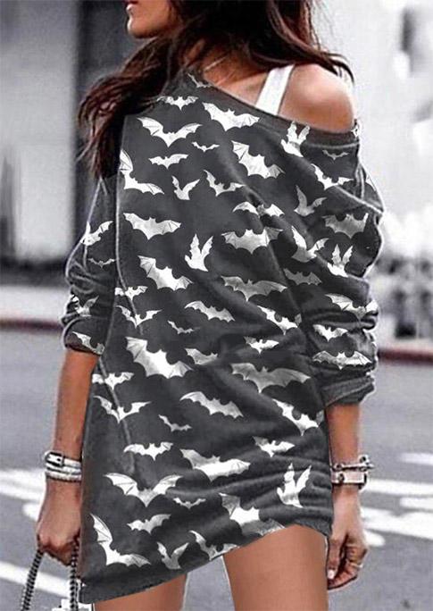 Halloween Bat Long Sleeve Mini Dress - Dark Grey