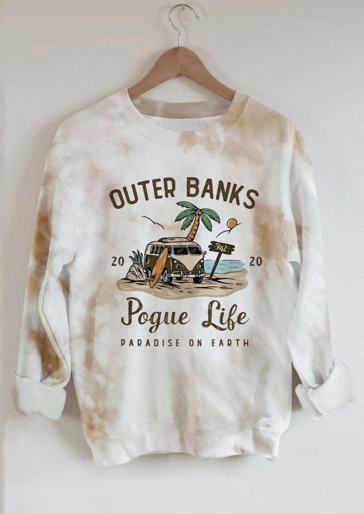 Outer Banks Tie Dye Pullover Sweatshirt - White
