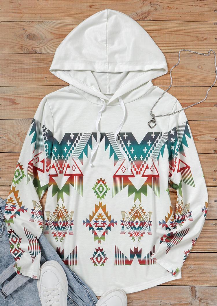 AztecGeometric Drawstring LongSleeve Hoodie