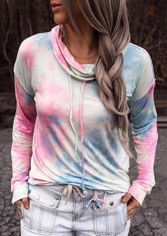 Tie Dye Long Sleeve Cowl Neck Sweatshirt