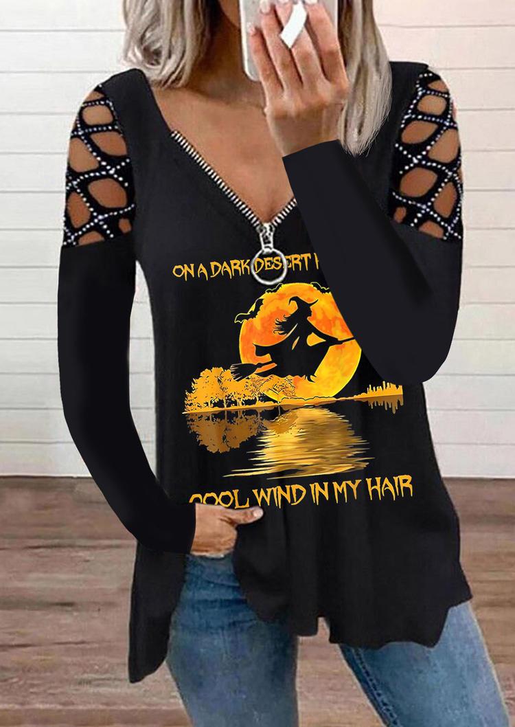 Halloween Witch Zipper Collar Long Sleeve Blouse - Black