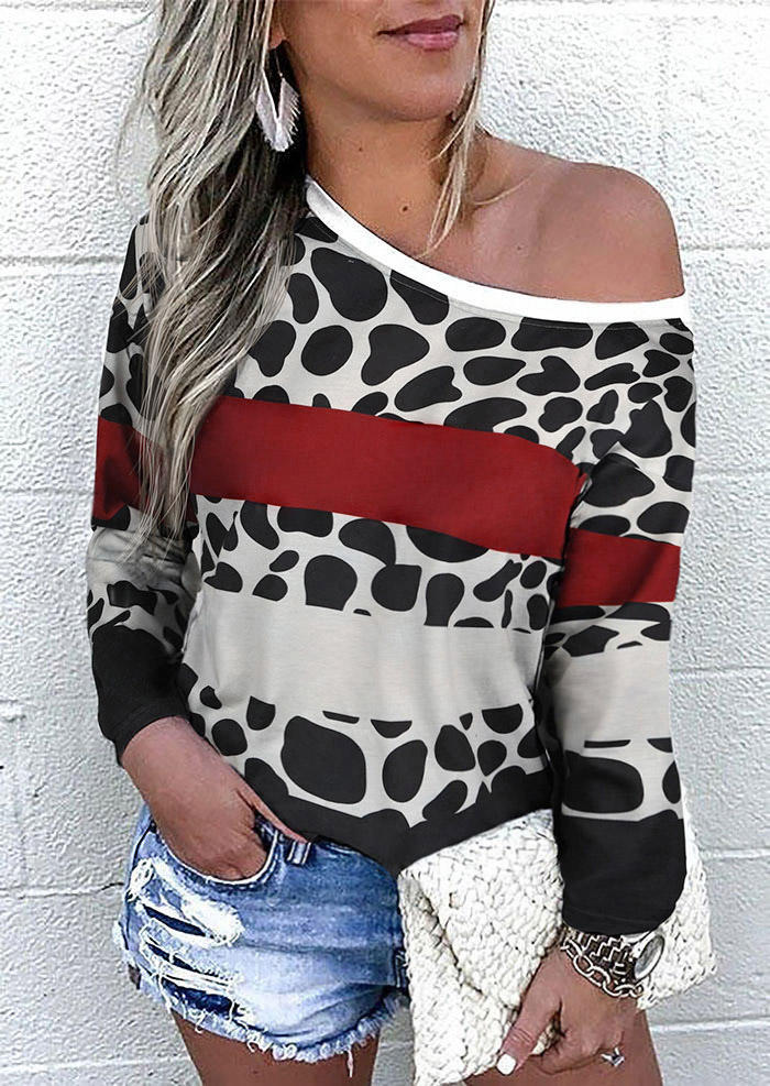 Leopard Color Block Pullover Sweatshirt