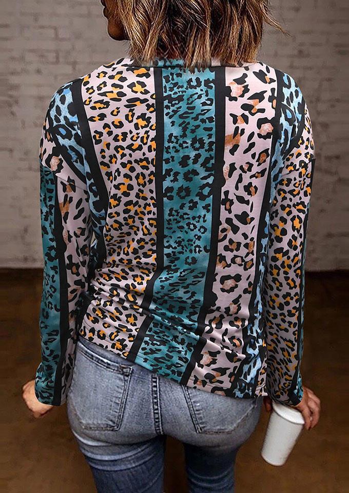 Leopard LongSleeve V-Neck Blouse