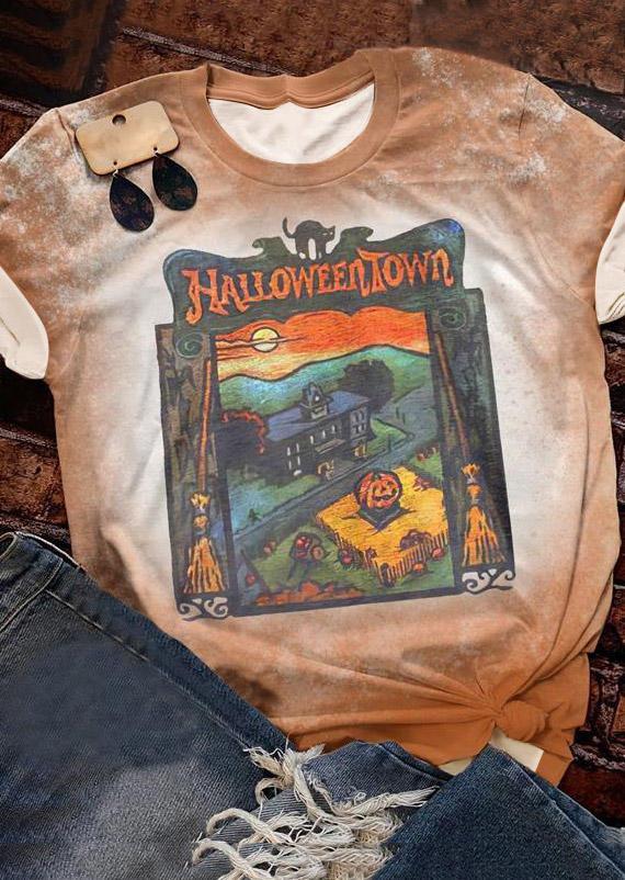 Halloweentown Pumpkin Face Bleached T-Shirt Tee - Khaki