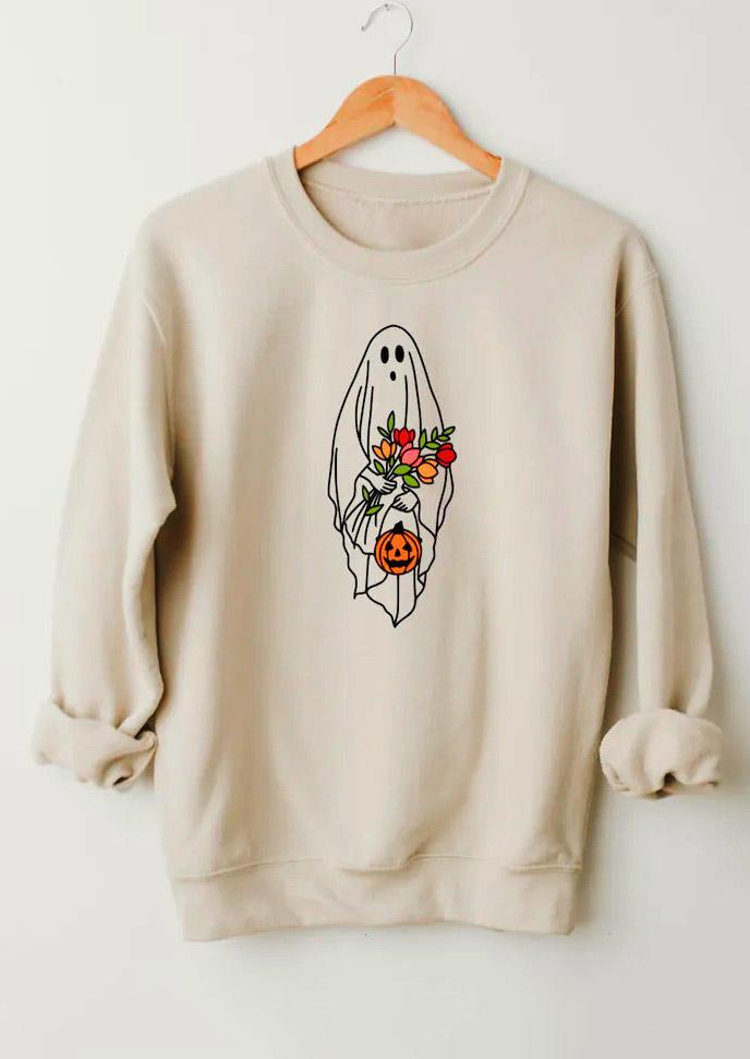 Halloween Pumpkin Ghost Floral Sweatshirt - Beige